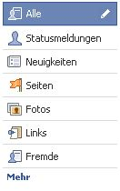 Linke Navigationsleiste bei Facebook
